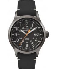 Timex TW4B01900 Erkek sefer analog yükselmiş siyah deri kayışı izle