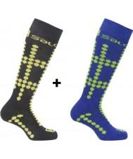 Salomon 355971-BLAYELGRN-XS Kids takımın genç siyah ve sarı çorap 2 paket - boyut xs (6,5-9 uk)