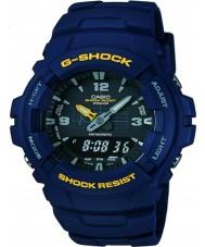 Casio G-100-2BVMUR Mens g-shock mavi reçine kayışı izle