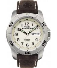 Timex T46681 beyaz kahverengi sefer geleneksel seyretmek mens