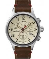 Timex TW4B04300 Erkek seferi izci kahverengi deri kronograf izle