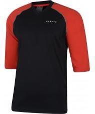 Dare2b Erkekler siyah ateşli kırmızı mayo t-shirt ile çevrildi